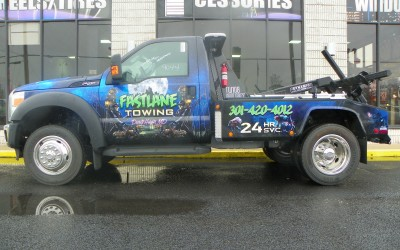 Fastlane Towing Tow Truck Wrap Haunted Theme