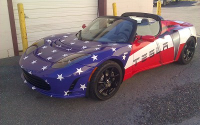 Tesla DC Showroom Roadster Wrap