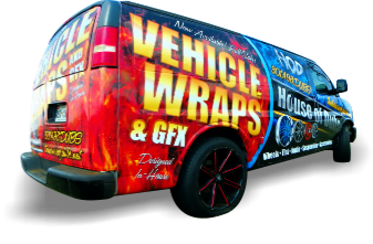 wrapped work van